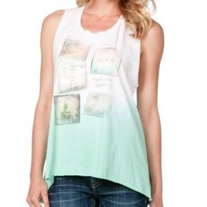 🆕 Miss Me Twisted-Back Mint Green/White Tank Top